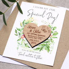 Wedding Save The Date Cards Wooden Magnets Personalised Wood Fridge Rustic Heart