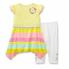 Young Hearts Girls Tunic and Leggings Set Floral Striped Yellow Multi size 6 NEW
