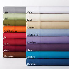 All Size 4 pc Attached Water Bed Sheet Set 1000TC Egyptian Cotton Solid Colors
