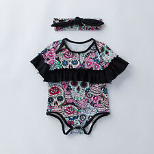 Punk Skull Toddler Infant Newborn Baby Girls Boys Romper Cotton Clothes Outfits