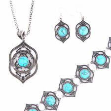 Vintage Jewelry Earrings Necklace Bracelet Jewelry Sets Turquoise Ethnic Style