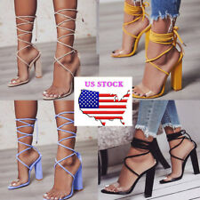 Fashion Womens High Block Heels Peep Toe Ankle Strappy Clubwear Party Shoes Size