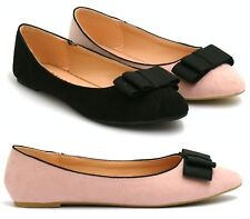 WOMENS FLAT LARGE RIBBON BOW PUMPS LADIES BALLET BALLERINA DOLLY WORK SHOES SIZE