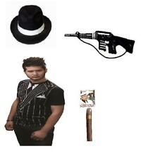 Mens Stag Do Party 4Pc Gangster Set Mafia Boss Hat, Suit T-Shirt Gun And Cigar
