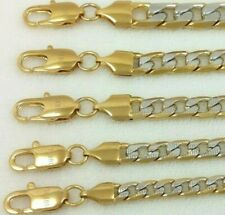 Real 10k Gold Filled 2-Tone Silver Paved Cuban Curb Link Chain Necklace Bracelet