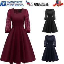 US Women's Vintage Lace Formal Boat  Wedding Cocktail Long Sleeve Swing Dress