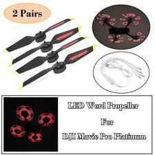 2 Pairs Low-Noise LED Flash Propellers Quick-Release for DJI Mavic Pro Platinum