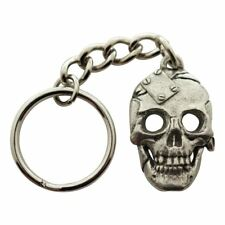 Metal Plate Skull Keychain ~ Antiqued Pewter ~ Keychain