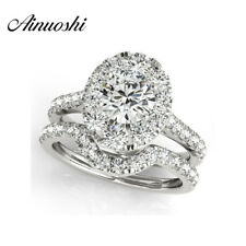 1 Ct Round Cut Simulated Diamond 925 Sterling Silver Engagement Bridal Ring Set