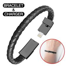 Micro USB 2.0  Leather Bracelet Link Charging Cable Braided Wrist Band USB Cable