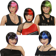 Zoey Wig Short Black Bob with Streaks Punk Fancy Dress Festival Dance Prop Fancy