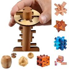 Wooden Intelligence Kongming Lock Game Burr Puzzle Unlock Key Magic Trick Tops