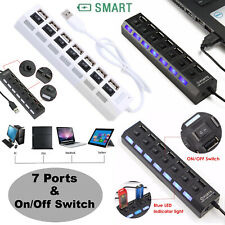 Universal 7 Ports LED USB Hub Splitter ON/OFF Switch Adapter Cable For Laptop PC