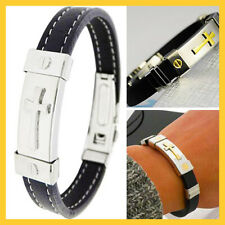 New Jewelry Men's Women Leathe Black Silicone Cuff bracelet Stainless Wristband