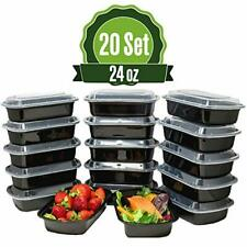 Meal Prep Food Storage Containers with Lids, 1 Compartment 24 oz (20 Set) - BPA