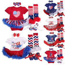 4th of July Baby Girl Tutu Romper Dress Outfits + Headband + Shoes + Leg Warmers