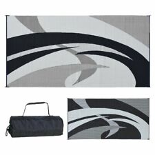 Outdoor Patio Deck RV Mat Reversible Rug 9x18, 9x12 Swirl Pattern With Carry Bag