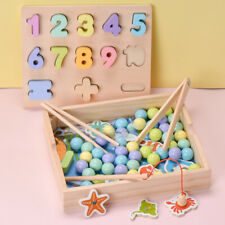 wooden montessori toy wood clip carry beads ball shape match board fish game box