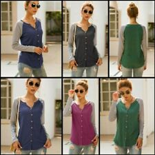 Shirt Striped V Neck Casual Blouse T-Shirt Womens Pullover Loose Long Sleeve Top