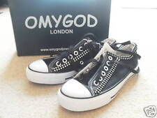 Black Canvas Trainers with Crystal Embelishment