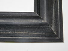 "1.8"" Black Weathered Distressed Solid Wood Picture Frames-Custom Standard Sizes"