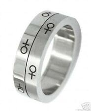 Lesbian Double Stainless Steel Spinner Ring Venus Female Symbols Gay Pride