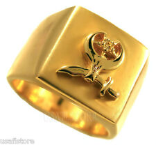 Mens 18kt Gold Plated Shriner Ring with Clear Stone
