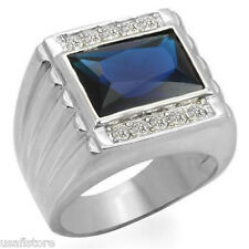 Mens Huge Dark Blue Stone Silver Rhodium Plated Ring New