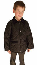 Campbell Cooper Brand New Kids Black Horse Quilted Riding Jacket Coat