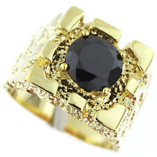 Mens Rampart  Jet Black Stone 18Kt Gold Plated Ring
