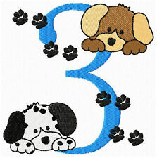 Cute Puppy Dogs Bday Numbers Machine Embroidery Designs