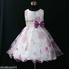 PU3211 Purple Fancy Christening Wedding Party Flower Girls Dresses SIZE 3 to 8T