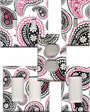 Black & Hot Pink Paisley with White Background Light Switch Plates/Outlet Covers
