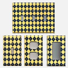 Yellow & Navy Blue Argyle Diamonds Michigan Georgia Tech Switch Plates & Outlets