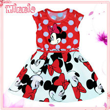 Reds Minnie Mouse Princess Birthday Party Flower Girls Dresses SIZE 1-2-3-4-5-6T