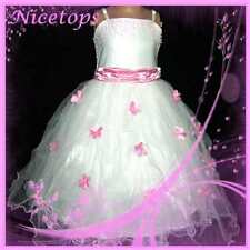 #P408 Pinks Christmas Party Wedding Flower Girls Pageant Dress SZ 3-4-5-6-7-8-9Y
