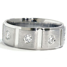 Mens Natural 1.00CT Diamond Ring Solid 950 Platinum Comfort Fit 8MM Wedding Band