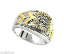 Two Tone 4mm  CZ Rhodium Plated Classic Mens Ring