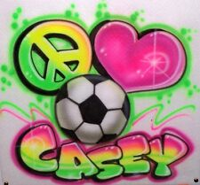 Airbrushed Peace Love Soccer T-Shirt Sweatshirt Airbrush any Sport, name, Color