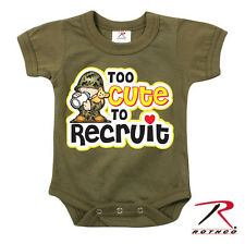 Infant US Army Olive Drab Green Onesie Bodysuit Baby Infant Too Cute to Recruit
