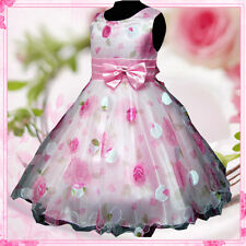 P3211 Pinks Christmas Party Wedding Fancy Flower Girls Dresses AGE 3-4-5-6-7-8Y