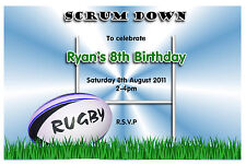 Personalised Rugby Birthday Party Invitations Invites N72