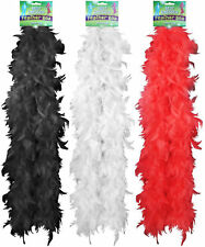BLACK RED WHITE FEATHER BOA FANCY DRESS COSTUME