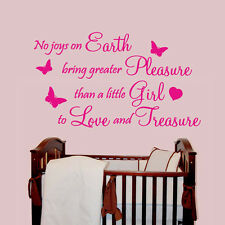 No Joys On Earth Girl - Wall Decal Sticker Quote baby nursery playroom