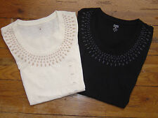 NEW Authentic TOMMY HILFIGER Womens SS Top Shirt Graphic Beads Embellished Tee