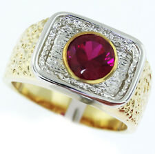 Mens 7mm Ruby Red Stone Tutone Gold Plated Ring