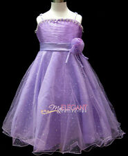 Purple Rose Wedding Bridesmaids Flower Girls Pageant Costume Dress Gown Age 1-13