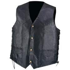 New Mens Diamond Plate Hand Sewn Pebble Grain Genuine Black Leather Biker Vest