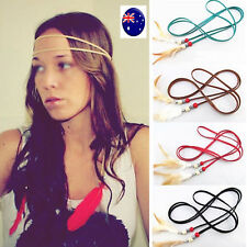 Women  Boho Bohemian Suede Feather Extension Hair Head Strap band belt headband