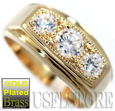 Three Clear CZ Stones 18kt Gold EP Mens Ring
